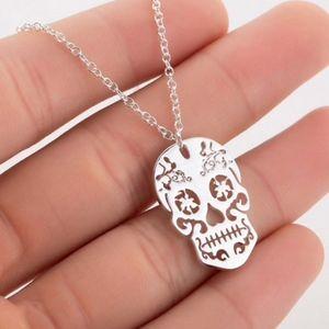 Silver Sugar Skull Necklace New